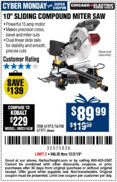 "Harbor Freight Coupon CHICAGO ELECTRIC 10"" SLIDING COMPOUND MITER SAW Lot No. 56708/61972/61971 Expired: 12/1/19 - $89.99"