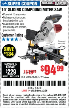"Harbor Freight Coupon CHICAGO ELECTRIC 10"" SLIDING COMPOUND MITER SAW Lot No. 56708/61972/61971 Expired: 2/2/20 - $94.99"