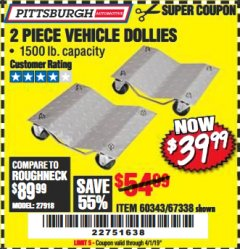 Harbor Freight Coupon 2 PIECE 1500 LB. CAPACITY VEHICLE WHEEL DOLLIES Lot No. 60343/67338 Expired: 4/1/19 - $39.99