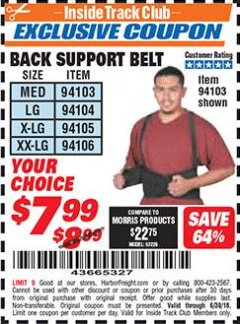 Harbor Freight ITC Coupon BACK SUPPORT BELTS Lot No. 94103/94104/94105/94106 Dates Valid: 6/1/18 - 6/30/18 - $7.99