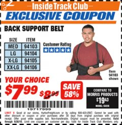 Harbor Freight ITC Coupon BACK SUPPORT BELTS Lot No. 94103/94104/94105/94106 Expired: 9/30/18 - $7.99