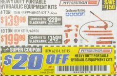Harbor Freight PERCENT Coupon 10 TON SUPER HEAVY DUTY PORTABLE HYDRAULIC EQUIPMENT KIT Lot No. 44900/62114/60406 Expired: 2/28/19 - $179.99