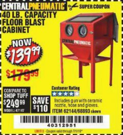 Harbor Freight Coupon 40 LB. CAPACITY FLOOR BLAST CABINET Lot No. 68893/62144/93608 Expired: 7/1/19 - $139.99