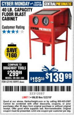Harbor Freight Coupon 40 LB. CAPACITY FLOOR BLAST CABINET Lot No. 68893/62144/93608 Expired: 12/1/19 - $139.99