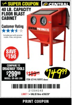 Harbor Freight Coupon 40 LB. CAPACITY FLOOR BLAST CABINET Lot No. 68893/62144/93608 Valid Thru: 4/30/20 - $149.99