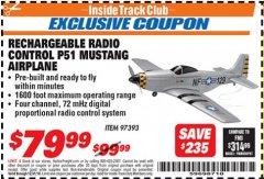 Harbor Freight ITC Coupon RADIO CONTROLLED P51 MUSTANG AIRPLANE Lot No. 97393 Expired: 12/31/18 - $79.99