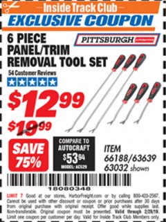 Harbor Freight ITC Coupon 6 PIECE PANEL/TRIM REMOVAL TOOL SET Lot No. 66188 Dates Valid: 12/31/69 - 2/28/19 - $12.99