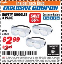 Harbor Freight ITC Coupon SAFETY GOGGLES PACK OF 3 Lot No. 66538 Dates Valid: 6/1/18 - 6/30/18 - $2.99