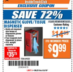 Harbor Freight ITC Coupon MAGNETIC GLOVE/TISSUE DISPENSER Lot No. 69322/66501 Expired: 6/5/18 - $9.99