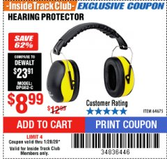 Harbor Freight ITC Coupon HEARING PROTECTOR Lot No. 64675 Expired: 1/28/20 - $8.99