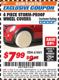 Harbor Freight ITC Coupon 4 PIECE STORM-PROOF WHEEL COVERS Lot No. 93715/61841 Expired: 10/31/18 - $7.99