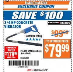 Harbor Freight ITC Coupon 3/4 HP CONCRETE VIBRATOR Lot No. 34923 Expired: 6/5/18 - $79.99