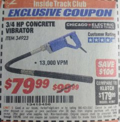 Harbor Freight ITC Coupon 3/4 HP CONCRETE VIBRATOR Lot No. 34923 Expired: 7/31/18 - $79.99