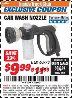 Harbor Freight ITC Coupon CAR WASH NOZZLE Lot No. 60773 Dates Valid: 12/31/69 - 6/30/18 - $9.99