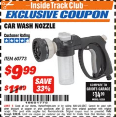 Harbor Freight ITC Coupon CAR WASH NOZZLE Lot No. 60773 Expired: 9/30/18 - $9.99