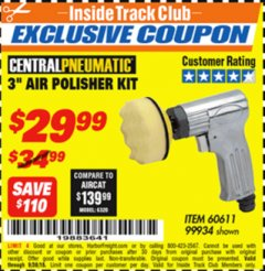 "Harbor Freight ITC Coupon 3"" AIR POLISHER KIT Lot No. 60611/99934 Expired: 9/30/18 - $29.99"