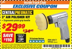 "Harbor Freight ITC Coupon 3"" AIR POLISHER KIT Lot No. 60611/99934 Valid Thru: 12/31/18 - $29.99"