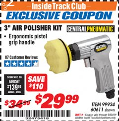 "Harbor Freight ITC Coupon 3"" AIR POLISHER KIT Lot No. 60611/99934 Expired: 9/30/19 - $29.99"