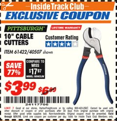 "Harbor Freight ITC Coupon 10"" CABLE CUTTER Lot No. 61422/40507 Expired: 8/31/18 - $3.99"