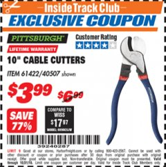 "Harbor Freight ITC Coupon 10"" CABLE CUTTER Lot No. 61422/40507 Expired: 10/31/18 - $3.99"