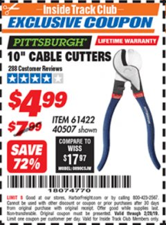 "Harbor Freight ITC Coupon 10"" CABLE CUTTER Lot No. 61422/40507 Valid Thru: 2/28/19 - $4.99"