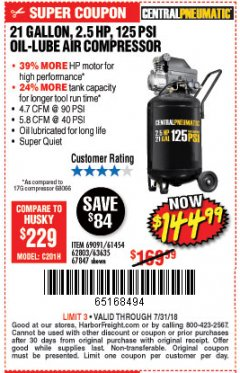 Harbor Freight Coupon 2.5 HP, 21 GALLON 125 PSI VERTICAL AIR COMPRESSOR Lot No. 67847/61454/61693/69091/62803/63635 Expired: 7/31/18 - $144.99