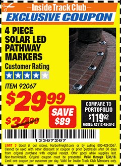 Harbor Freight ITC Coupon 4 PIECE SOLAR LED PATHWAY MARKERS Lot No. 92067 Expired: 7/31/18 - $29.99