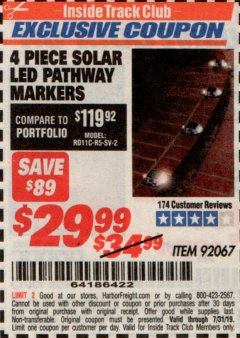 Harbor Freight ITC Coupon 4 PIECE SOLAR LED PATHWAY MARKERS Lot No. 92067 Expired: 7/31/19 - $29.99