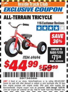 Harbor Freight ITC Coupon ALL-TERRAIN TRICYCLE Lot No. 60652/69694 Expired: 12/31/18 - $44.99