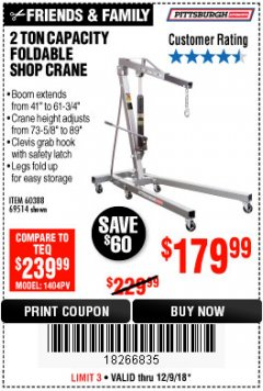 Harbor Freight Coupon 2 TON FOLDABLE SHOP CRANE Lot No. 69514/60388 Expired: 12/9/18 - $179.99