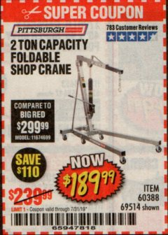 Harbor Freight Coupon 2 TON FOLDABLE SHOP CRANE Lot No. 69514/60388 Expired: 7/31/19 - $189.99