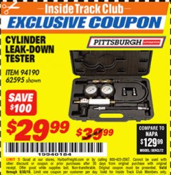 Harbor Freight ITC Coupon CYLINDER LEAK-DOWN TESTER Lot No. 94190 Expired: 9/30/18 - $29.99