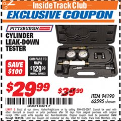 Harbor Freight ITC Coupon CYLINDER LEAK-DOWN TESTER Lot No. 94190 Expired: 10/31/18 - $29.99
