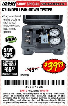Harbor Freight Coupon CYLINDER LEAK-DOWN TESTER Lot No. 94190 Expired: 11/24/19 - $39.99