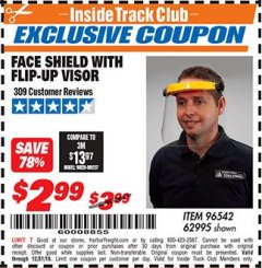 Harbor Freight ITC Coupon FACE SHIELD WITH FLIP-UP VISOR Lot No. 62995/96542 Expired: 12/31/18 - $2.99