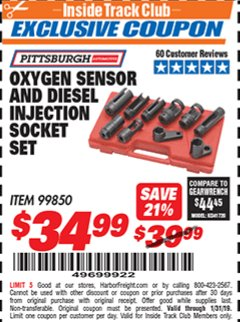Harbor Freight ITC Coupon OXYGEN SENSOR AND DIESEL FUEL INJECTION SOCKET SET Lot No. 99850 Expired: 1/31/19 - $34.99