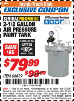 Harbor Freight ITC Coupon 2-1/2 GALLON AIR PRESSURE PAINT TANK Lot No. 66839 Expired: 4/30/19 - $79.99