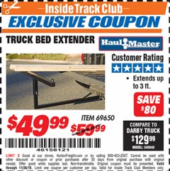 Harbor Freight ITC Coupon TRUCK BED EXTENDER Lot No. 69650 Expired: 11/30/18 - $49.99