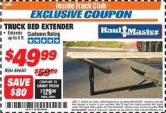 Harbor Freight ITC Coupon TRUCK BED EXTENDER Lot No. 69650/45830 Dates Valid: 12/31/69 - 6/30/18 - $49.99