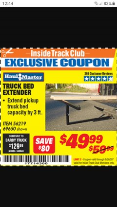 Harbor Freight Coupon TRUCK BED EXTENDER Lot No. 69650 Expired: 6/30/20 - $49.99