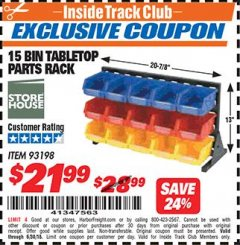 Harbor Freight ITC Coupon 15 BIN TABLE TOP PARTS RACK Lot No. 93198 Dates Valid: 12/31/69 - 6/30/18 - $21.99
