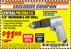"Harbor Freight ITC Coupon 3/8"" REVERSIBLE AIR DRILL Lot No. 94585 Expired: 7/31/18 - $11.99"