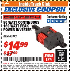 Harbor Freight ITC Coupon 80 WATT CONTINUOUS/160 WATT PEAK POWER INVERTER Lot No. 66972 Expired: 7/31/18 - $14.99