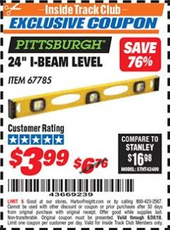"Harbor Freight ITC Coupon 24"" I-BEAM LEVEL Lot No. 67785 Dates Valid: 6/1/18 - 6/30/18 - $3.99"
