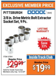 "Harbor Freight ITC Coupon 9 PIECE 3/8"" DRIVE BOLT EXTRACTOR SOCKET SETS Lot No. 67897/67894 Valid Thru: 12/3/20 - $19.99"
