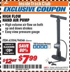 Harbor Freight ITC Coupon HIGH FLOW HAND AIR PUMP Lot No. 63304/94046 Expired: 9/30/19 - $7.99