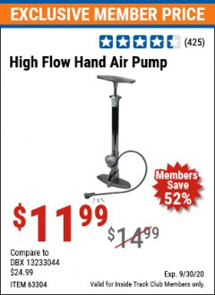 Harbor Freight ITC Coupon HIGH FLOW HAND AIR PUMP Lot No. 63304/94046 Valid Thru: 9/30/20 - $11.99