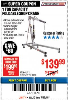 Harbor Freight Coupon 1 TON CAPACITY FOLDABLE SHOP CRANE Lot No. 69445/69512/61858/93840 Expired: 7/22/18 - $139.99