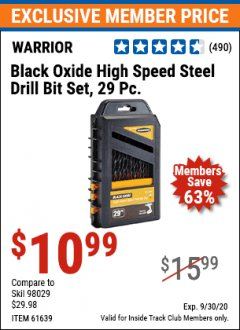 Harbor Freight ITC Coupon WARRIOR 29 PIECE BLACK OXIDE STEEL DRILL BIT SET Lot No. 61639 Valid Thru: 9/30/20 - $10.99