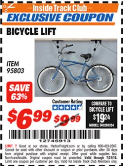 Harbor Freight ITC Coupon BICYCLE LIFT Lot No. 95803 Expired: 7/31/18 - $6.99